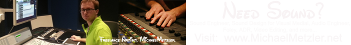 Need Sound for your next project?  Freelance Audio Engineer Michael Metzler, Minneapolis, MN - Creating magic